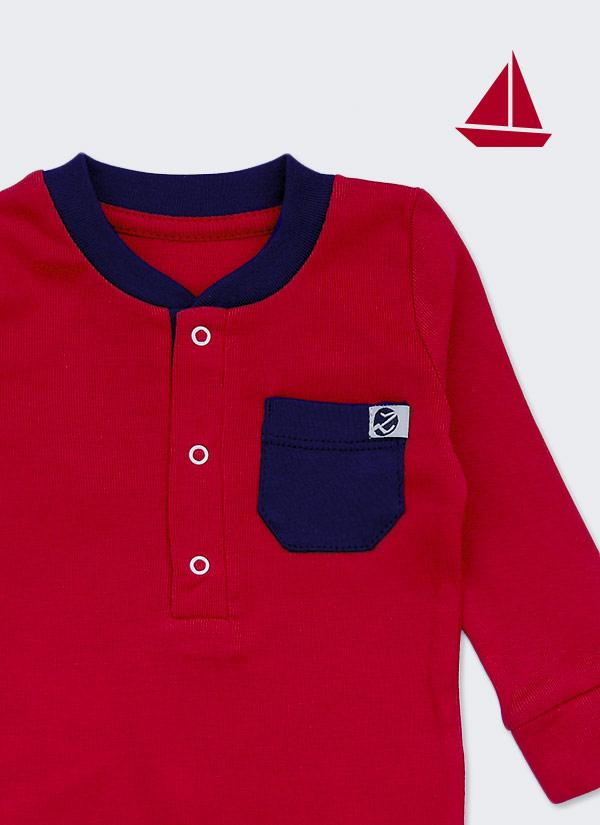 Бебешко боди, спортна риза с дълъг ръкав, червен с тъмно син джоб, 6-12 месеца, Zinc, отблизо