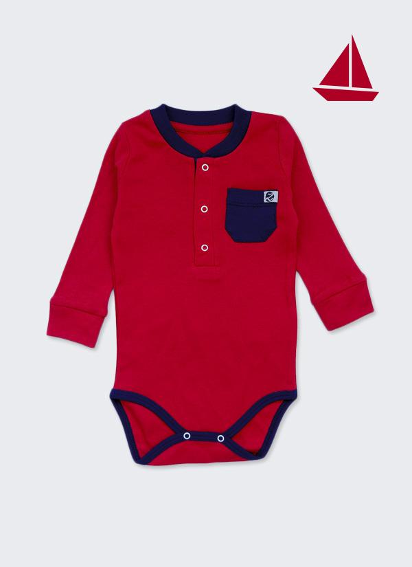 Бебешко боди, спортна риза с дълъг ръкав, червен с тъмно син джоб, 6-12 месеца, Zinc