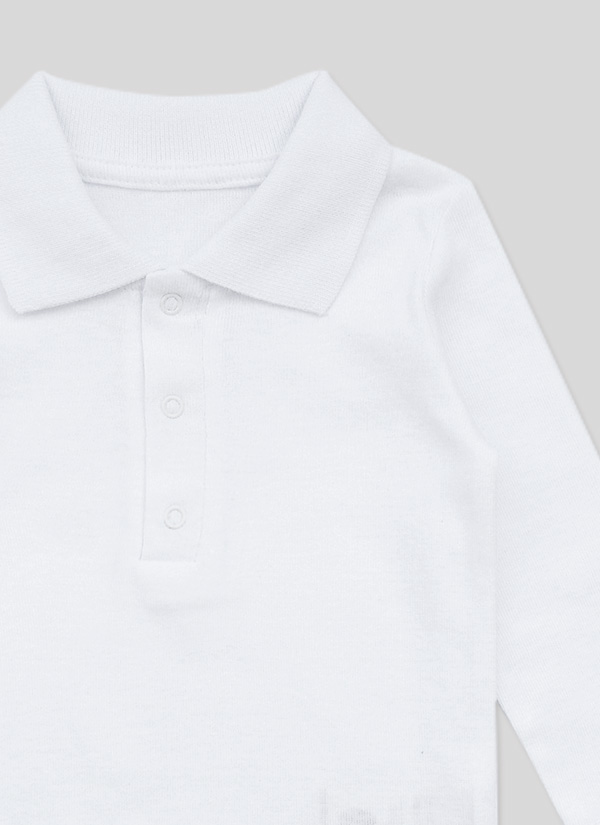 Бебешко боди риза с дълъг ръкав, с яка и 3 копчета, бял цвят, за момчета, 6-18 месеца, Zinc, отблизо