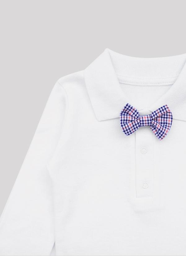 Бебешко боди риза с папийонка, с дълъг ръкав, с яка и 3 копчета, бял цвят, за момчета, 6-18 месеца, Zinc, отблизо