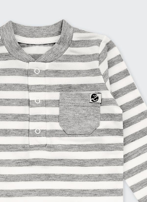 Бебешко боди, спортна риза с дълъг ръкав и джобче, райе бяло и сиво, 6-12 месеца, Zinc, отблизо
