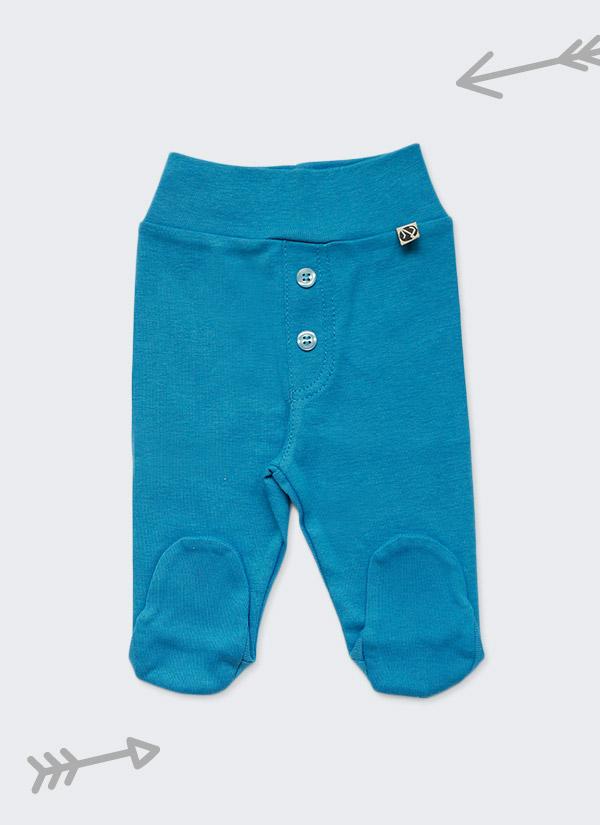 Бебешки ританки, тъмен тюркоаз, с шлиц и копчета като панталон, 0-6 месеца, Zinc
