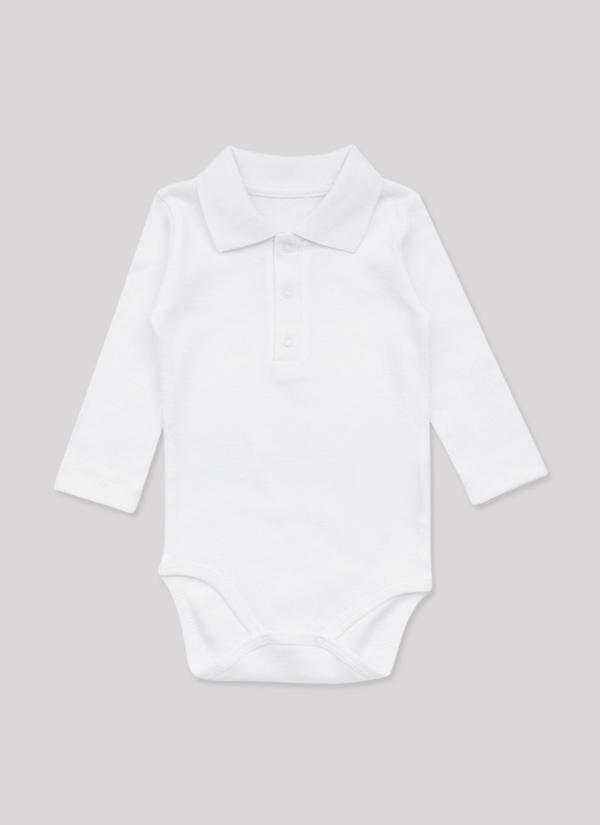 Бебешко боди риза с дълъг ръкав, с яка и 3 копчета, бял цвят, за момчета, 6-18 месеца, Zinc