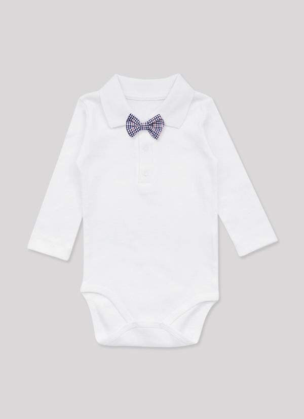Бебешко боди риза с папийонка, с дълъг ръкав, с яка и 3 копчета, бял цвят, за момчета, 6-18 месеца, Zinc