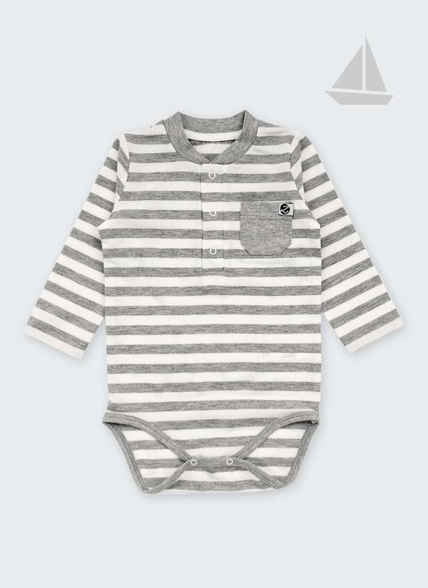 Бебешко боди, спортна риза с дълъг ръкав и джобче, райе бяло и сиво, 6-12 месеца, Zinc