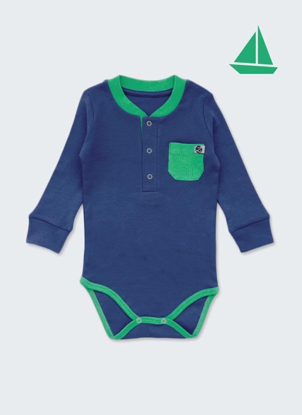 Бебешко боди, спортна риза с дълъг ръкав, тъмно син и зелен джоб, 6-12 месеца, Zinc