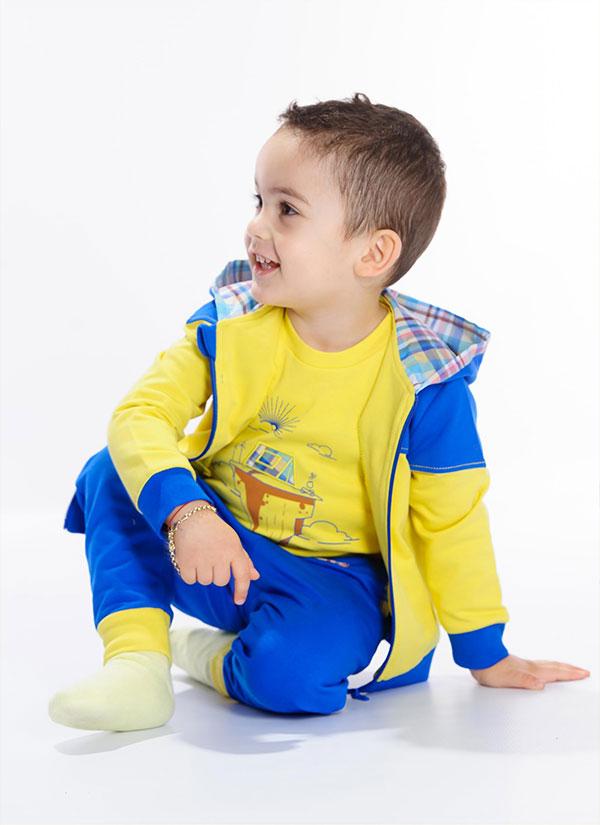ZINC Блуза с палатка - за момчета, патешко жълт, в размери от 6 месеца до 2 години -3