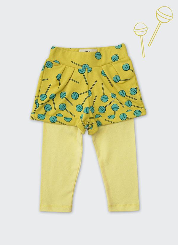 ZINC Къс панталон с клин - за момичета, жълт, в размери от 6 месеца до 2 години -1