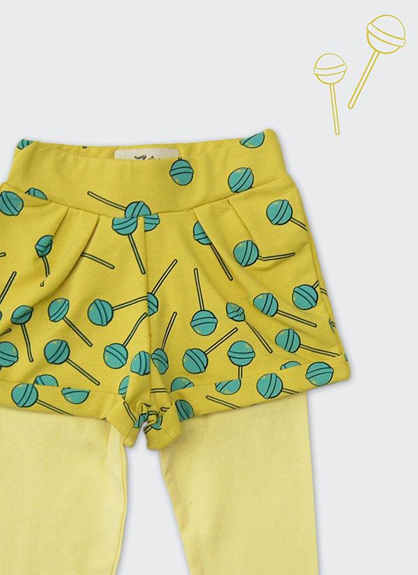 ZINC Къс панталон с клин - за момичета, жълт, в размери от 6 месеца до 2 години -2