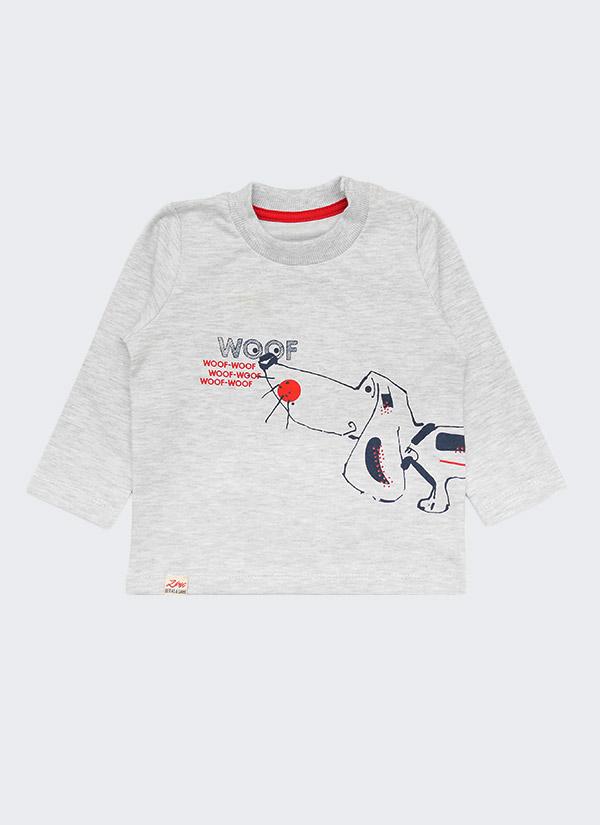 Комплект с куче от 3 части - долнище, блуза и шапка, цветове: бял меланж + тъмно син, бебе момче, 6 - 24 месеца, Zinc - блуза отпред