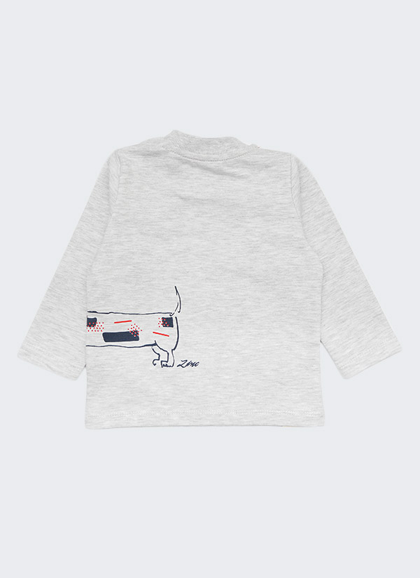 Комплект с куче от 3 части - долнище, блуза и шапка, цветове: бял меланж + тъмно син, бебе момче, 6 - 24 месеца, Zinc - блуза гръб