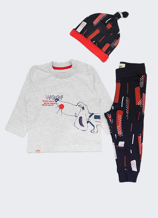 Комплект с куче от 3 части - долнище, блуза и шапка, цветове: бял меланж + тъмно син, бебе момче, 6 - 24 месеца, Zinc