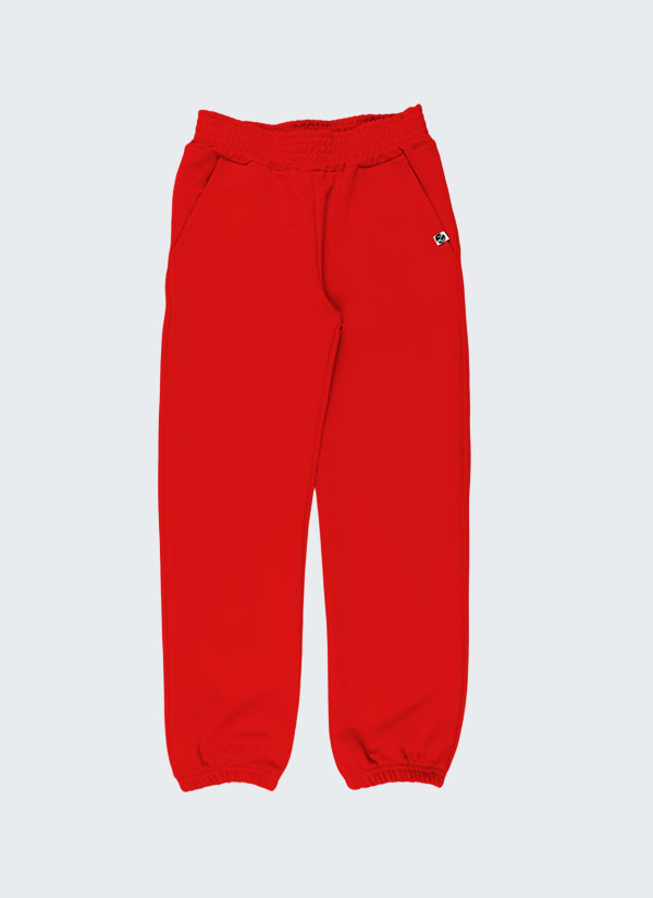 Долнище с ластик - изчистен модел с италиански джобове, с ластик на колана и долу на крачолите в червен цвят. Момичета 2 - 12 години, Zinc