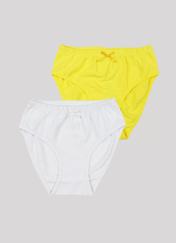 Бикини с панделка - комплект от 2 бр. с ластик на талията и малка панделка в лимонено жълт цвят + бял, Момичета 2 - 12 години, Zinc
