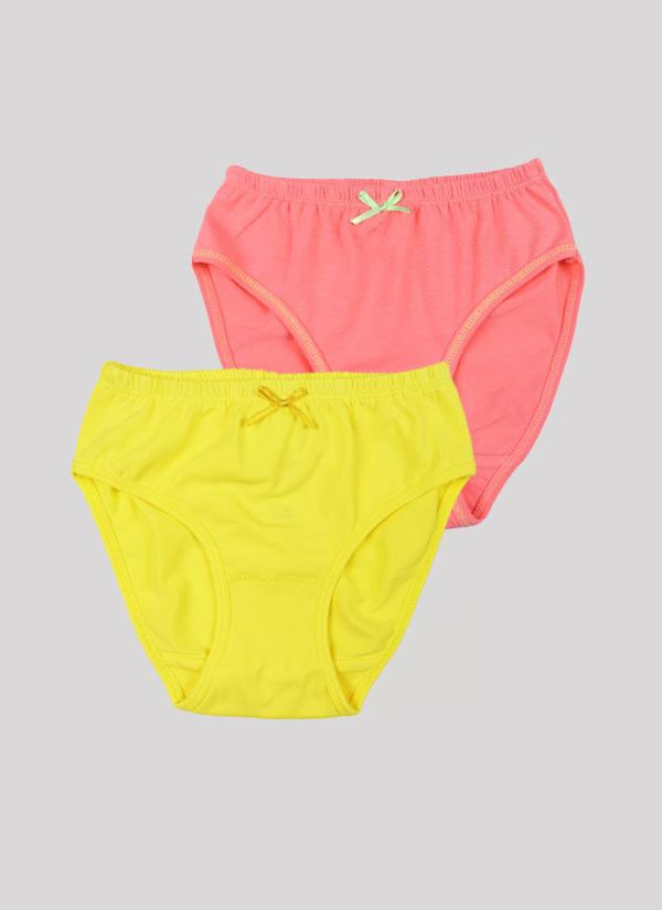 Бикини с панделка - комплект от 2 бр. с ластик на талията и малка панделка в цвят праскова + лимонено жълт, Момичета 2 - 12 години, Zinc
