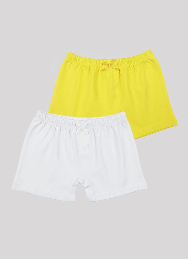 Боксерки с панделка - комплект от 2 бр. с ластик на талията и малка панделка в лимонено жълт цвят + бял, Момичета 2 - 12 години, Zinc