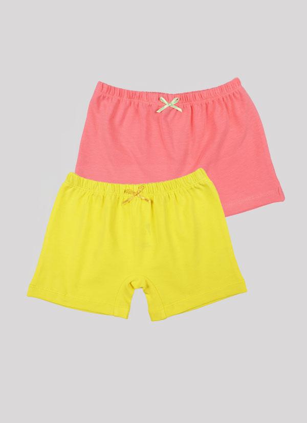 Боксерки с панделка - комплект от 2 бр. с ластик на талията и малка панделка в цвят праскова + лимонено жълт, Момичета 2 - 12 години, Zinc