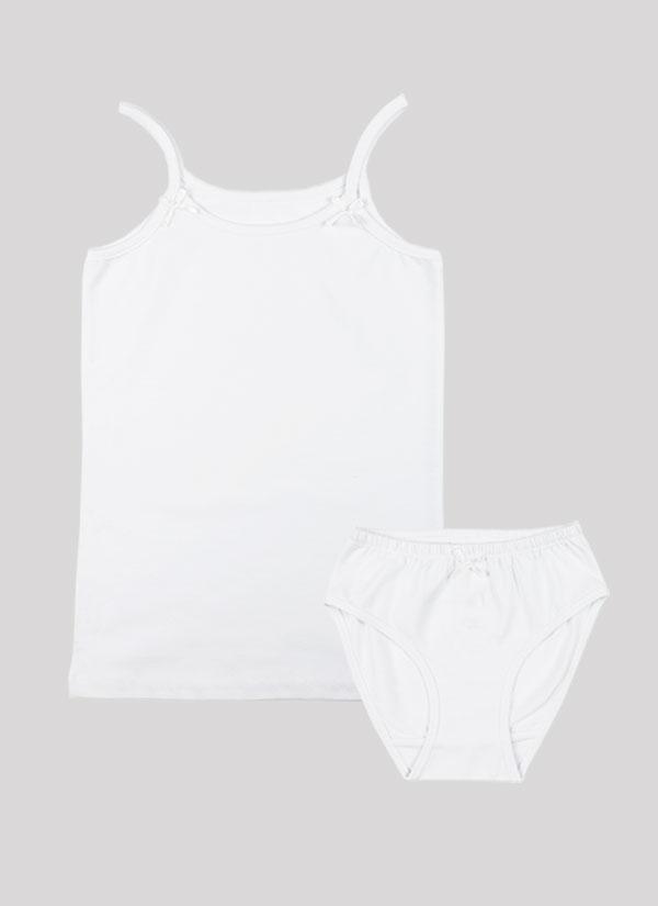 K-т потник и бикини с панделка е класически модел, който включва потник с тънки презрамки с малки панделки и бикини с ластик на талията и малка панделка по средата в бял цвят, Момичета 2 - 12 години, Zinc