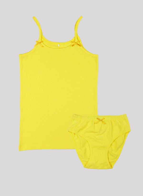 K-т потник и бикини с панделка е класически модел, който включва потник с тънки презрамки с малки панделки и бикини с ластик на талията и малка панделка по средата в лимонено жълт цвят, Момичета 2 - 12 години, Zinc