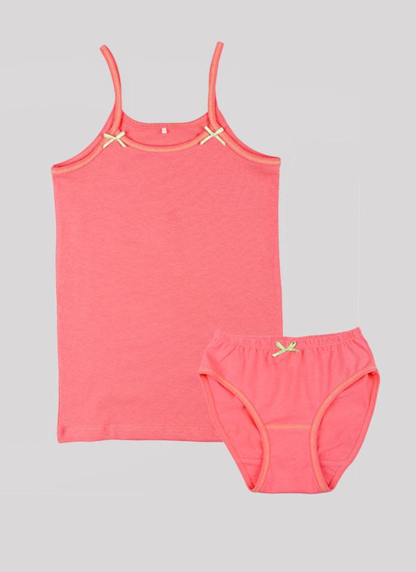 K-т потник и бикини с панделка е класически модел, който включва потник с тънки презрамки с малки панделки и бикини с ластик на талията и малка панделка по средата в цвят праскова, Момичета 2 - 12 години, Zinc
