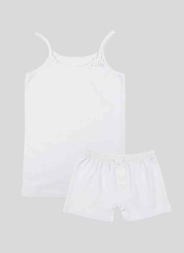K-т потник и боксерки с панделка включва потник с тънки презрамки с малки панделки и боксерки с ластик на талията и малка панделка по средата в цвят бял , Момичета 2 - 12 години, Zinc