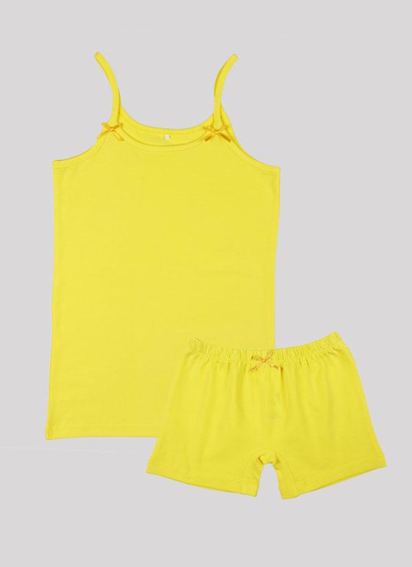 K-т потник и боксерки с панделка включва потник с тънки презрамки с малки панделки и боксерки с ластик на талията и малка панделка по средата в лимонено жълт цвят , Момичета 2 - 12 години, Zinc
