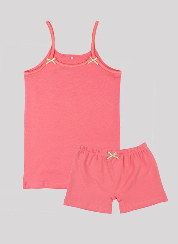 K-т потник и боксерки с панделка включва потник с тънки презрамки с малки панделки и боксерки с ластик на талията и малка панделка по средата в цвят праскова , Момичета 2 - 12 години, Zinc