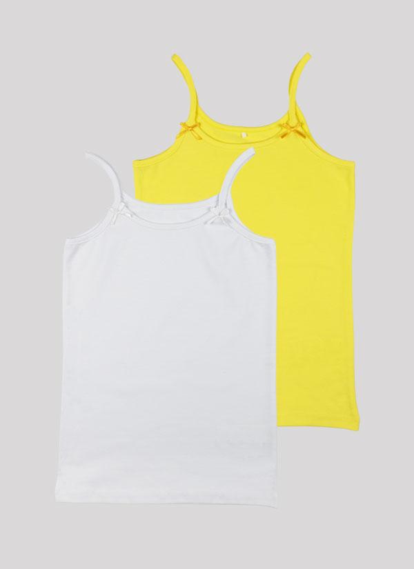Потник с панделка - комплект от 2 бр. с малки панделки на деколтето в лимонено жълт + бял цвят, Момичета 2 - 12 години, Zinc