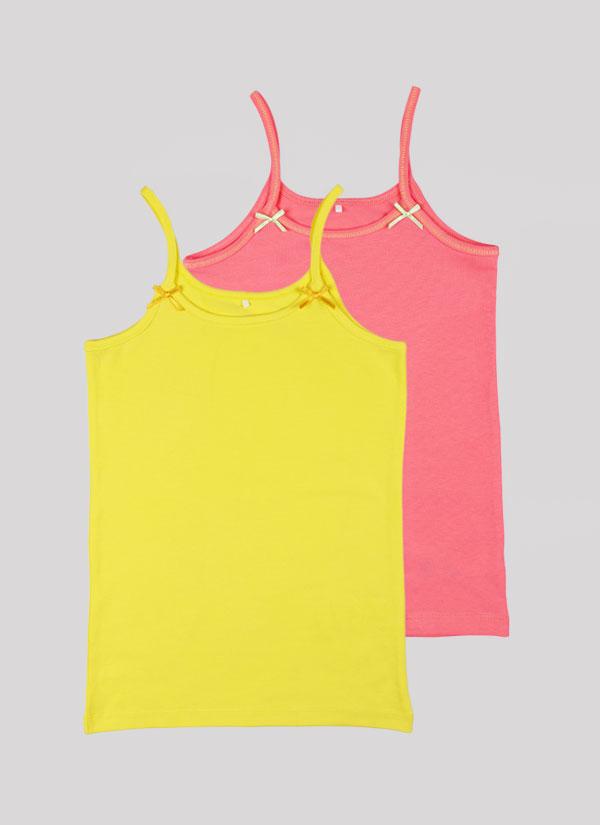 Потник с панделка - комплект от 2 бр. с малки панделки на деколтето в цвят праскова +лимонено жълт, Момичета 2 - 12 години, Zinc
