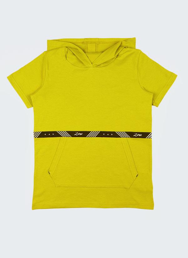 Tениска с качулка с лента Zinc е изчистен модел с голям джоб отпред и лента Zinc в цвят горчица, Деца 2 - 12 години, Zinc