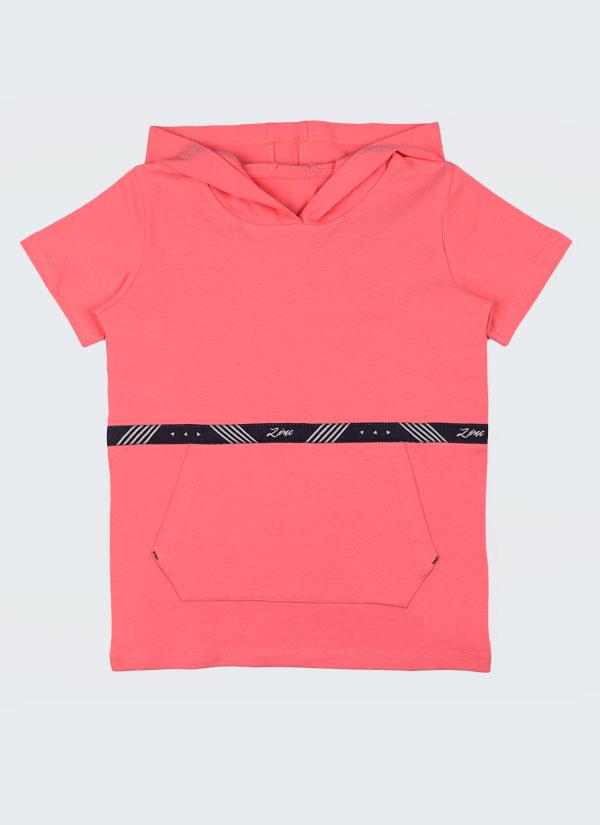 Tениска с качулка с лента Zinc е изчистен модел с голям джоб отпред и лента Zinc в цвят праскова, Деца 2 - 12 години, Zinc
