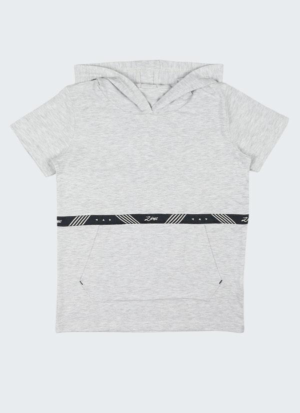 Tениска с качулка с лента Zinc е изчистен модел с голям джоб отпред и лента Zinc в цвят бял меланж, Деца 2 - 12 години, Zinc