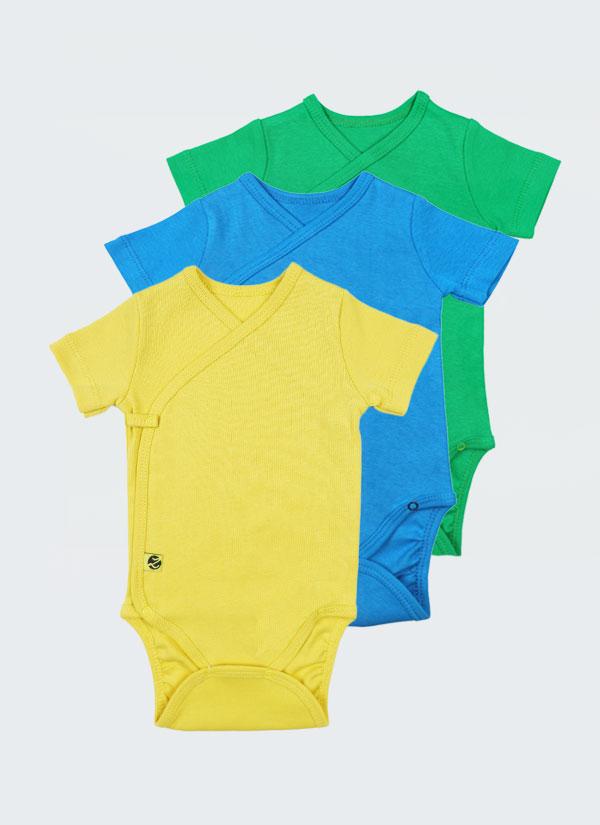 Боди кимоно с къс ръкав - 3 бр. в комплект. Закопчава се с прихлупване като кимоно чрез тик-так копчета. Цветове в комплекта: жълт, син и зелен, Бебета 0 - 6 месеца, Zinc