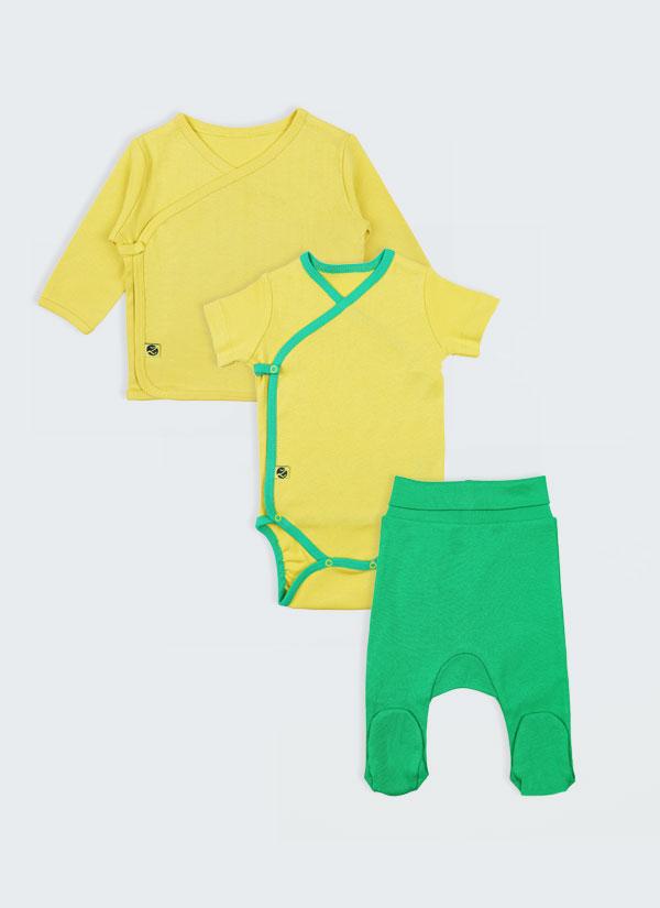 К-т боди кимоно, жилетка и ританки - изчистен модел. Боди и жилетка в жълт цвят, ританки в зелен цвят, Бебета 0 - 6 месеца, Zinc