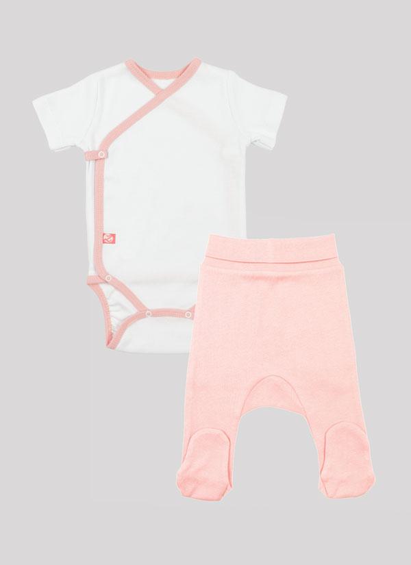 К-т боди кимоно с къс ръкав и ританки - боди в цвят бял и ританки в цвят пудра, Бебета 0 - 6 месеца, Zinc