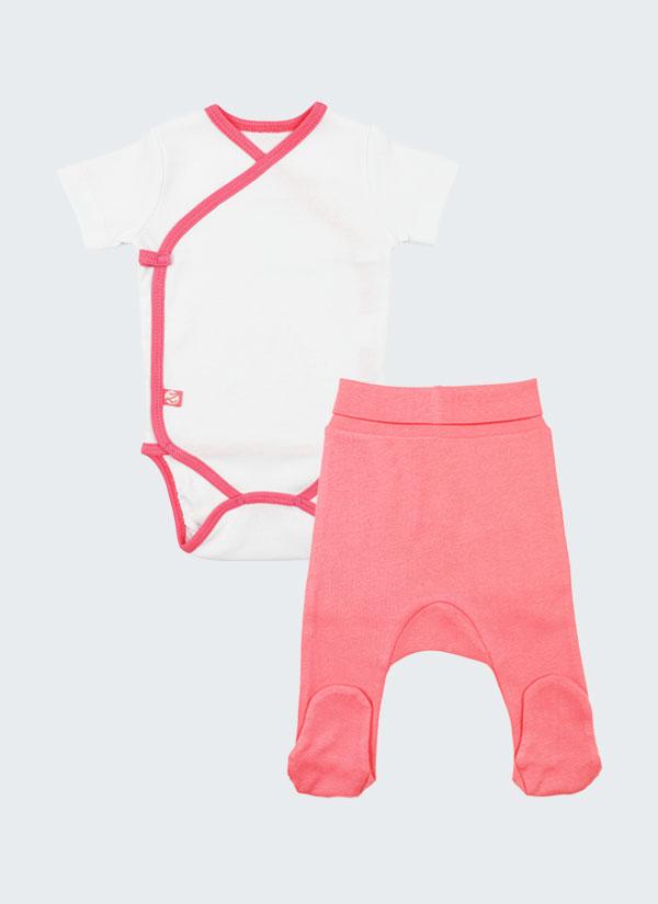 К-т боди кимоно с къс ръкав и ританки - боди в бял цвят и ританки в цвят сьомга, Бебета 0 - 6 месеца, Zinc