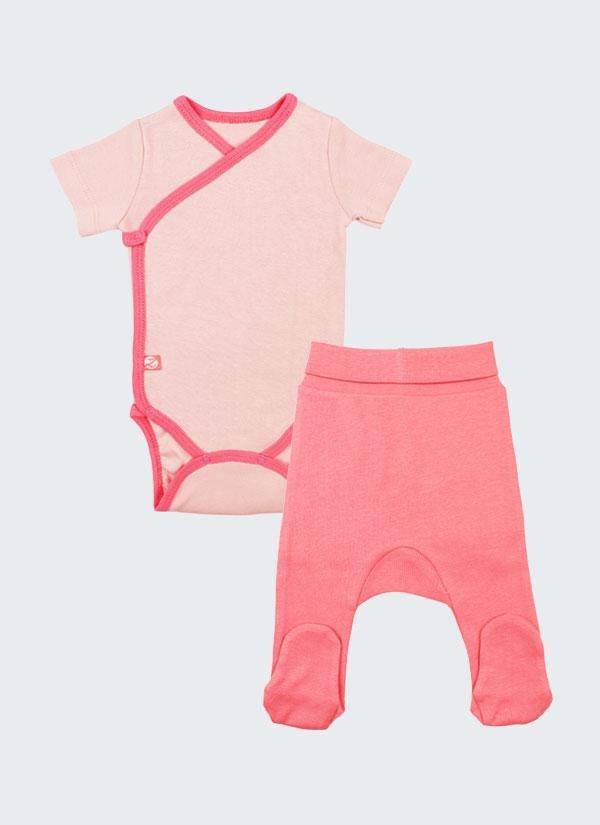 К-т боди кимоно с къс ръкав и ританки - боди в цвят пудра и ританки в цвят сьомга, Бебета 0 - 6 месеца, Zinc