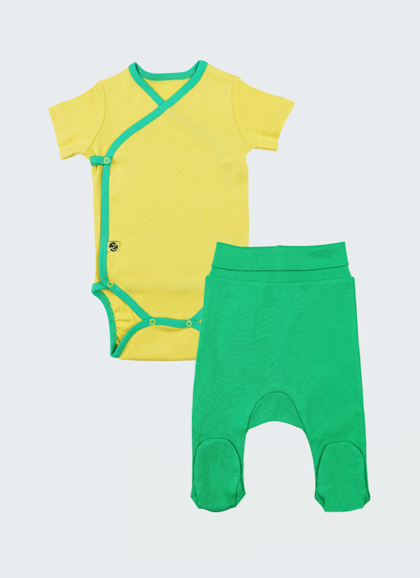 К-т боди кимоно с къс ръкав и ританки - боди в жълт цвят и ританки в зелен цвят, Бебета 0 - 6 месеца, Zinc