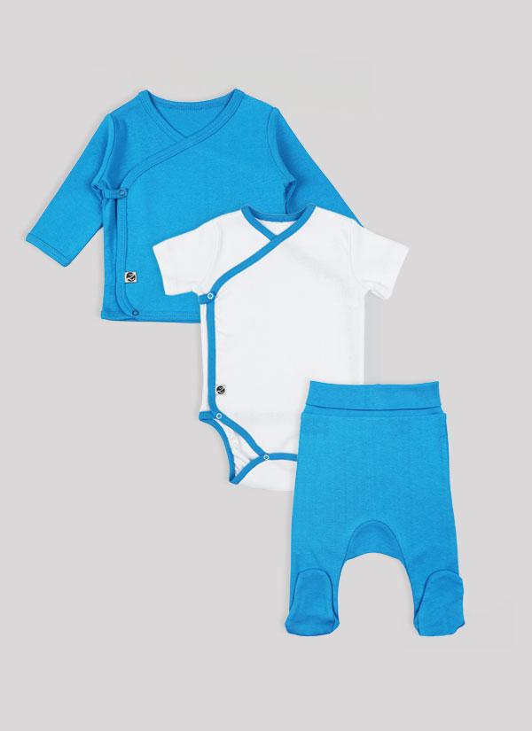 К-т боди кимоно, жилетка и ританки - изчистен модел. Боди в бял цвят, ританки и жилетка в син цвят, Бебета 0 - 6 месеца, Zinc