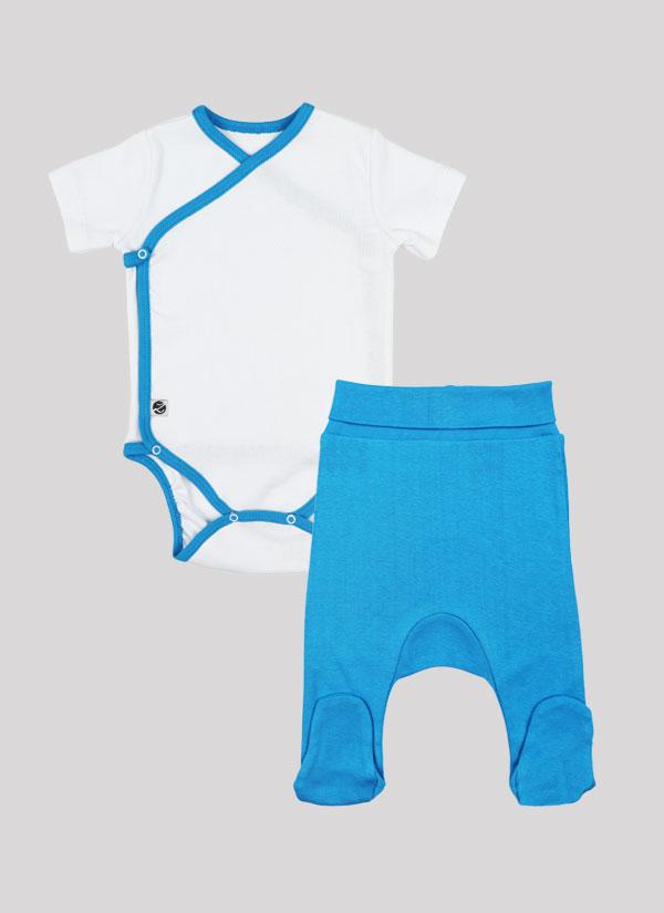 К-т боди кимоно с къс ръкав и ританки - боди в бял цвят и ританки в син цвят, Бебета 0 - 6 месеца, Zinc